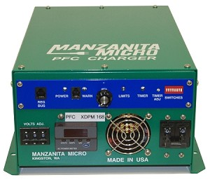 30A in-40A out, 12-450V DC <br> Manzanita Micro <br> PFC30XM <br> EV DC Lithium Battery Charger <br> 14L * 10.5W * 5.8H in <br> 358 * 264 * 145 mm <br> 17.2 lbs / 7.8 kg